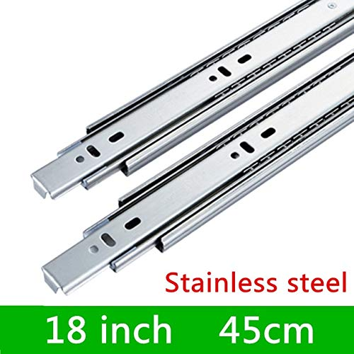 18 inches 1 Pair HG45VT Stainless Steel Three Sections Drawer Track Slide Guide Rail Accessories for Furniture Slide Hardware Fittings  (color  14 inches)