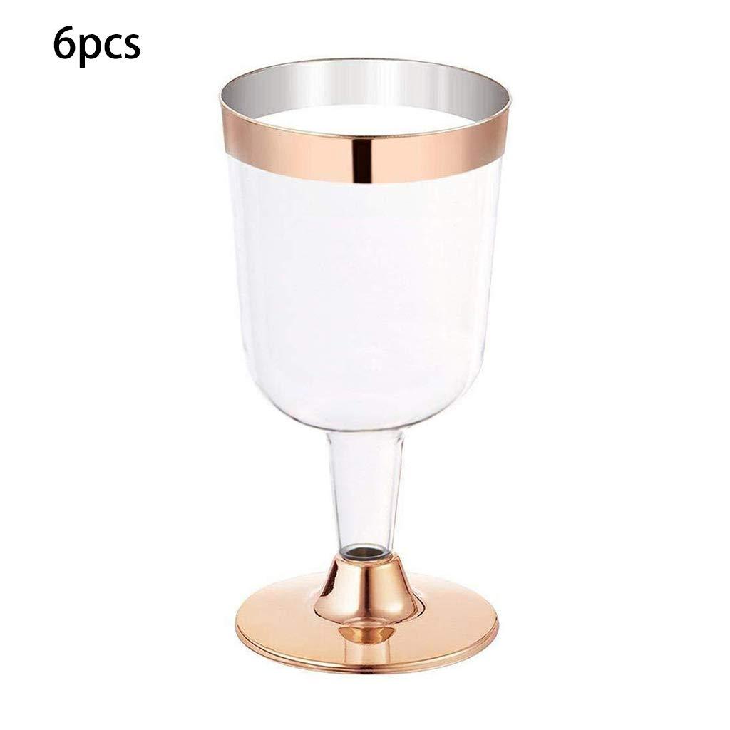 Verres /à Champagne Mariage De Fl/ûtes /à Champagne en Plastique , Fournitures De F/ête danniversaire Coupe Lat/érale Dor/ée Kafen Verre /à Vin en Plastique,Verre /à Vin Jetable 6PCS 180ML