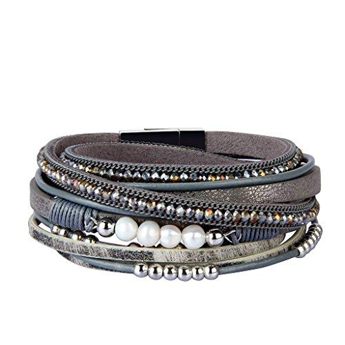 Charm Grey Pearl - Jenia Women Leather Cuff Bracelet Rope Braided Wrap Bracelets with Pearl Crystal Beads Handmade Jewelry for Mother, Wife, Teens Girls Birthday Gifts