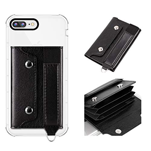 IronSeals KX6 Multi-card Slots Leather Flip Card Holder with Elastic Band Strap, Cell Phone Cash Wallet Holder Sticker Sleeve for iPhone/Samsung Galaxy/Sony/Android and Most Smart-phones