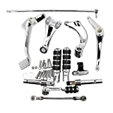 Alpha Rider Chrome Forward Controls Complete Set Assembly Kit with Foot Pegs Levers Linkage Mounting Hardware Accessories for Harley Sportster 883 Iron XL883N 2014 - 2017
