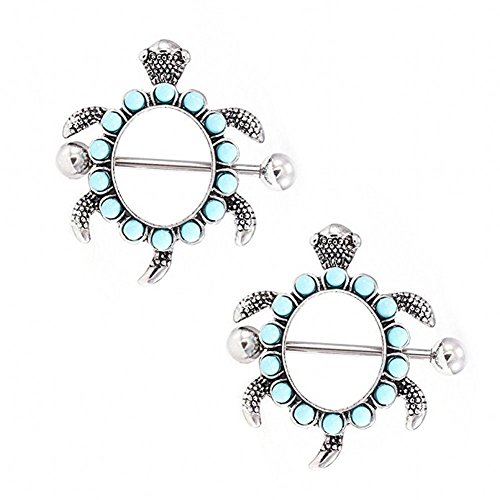 (IPINK- Pair of Turtle Design with Aqua Gems Nipple Shields 14G)