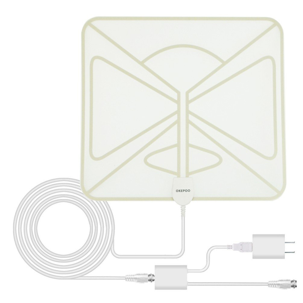 HDTV Antenna for Digital TV Indoor, OKEPOO 50 Mile Long Range, Detachable Amplifier Signal Booster with 16.5ft Thick Coaxial Cable, UL Certification Charger. (White)