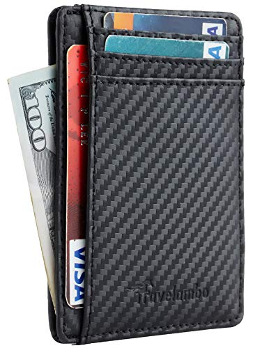 Travelambo Front Pocket Minimalist Leather Slim Wallet RFID Blocking Medium Size(01 carbon fiber texture black)
