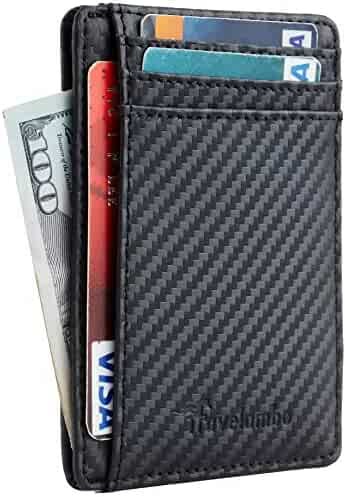 Travelambo Front Pocket Minimalist Leather Slim Wallet, Black, Size One Size