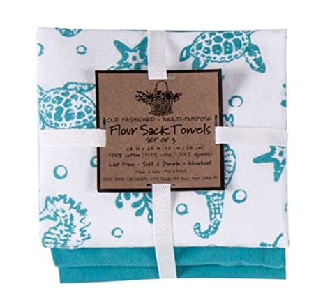 Kay Dee Designs A8361 Sea Life Flour Sack Towels (Set Of 3)