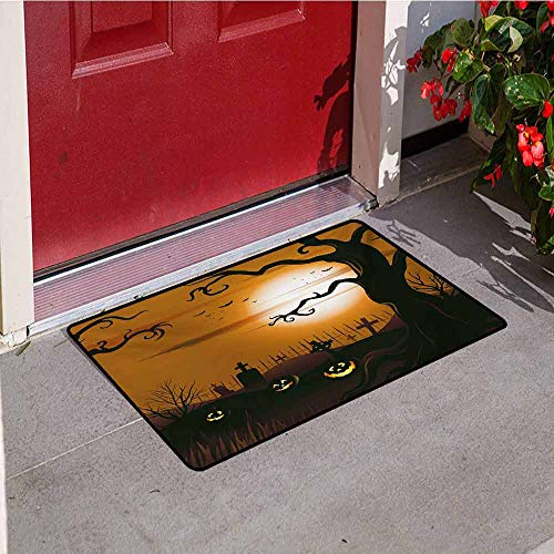 Jinguizi Halloween Commercial Grade Entrance mat Leafless Creepy Tree with Twiggy Branches at Night in Cemetery Graphic Drawing for entrances garages patios W35.4 x L47.2 Inch Brown Tan -