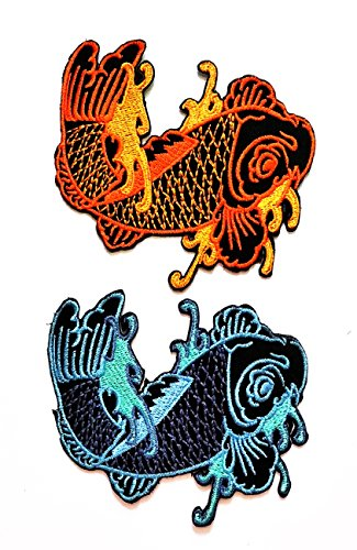 (Nipitshop Patches Set 2 Pcs Blue and Orange fish Patch Japanese koi carp fish tattoo Japan love embroidered applique iron-on patch For Clothes Backpacks T-shirt Jeans Skirt vests scarf Hat Bag )