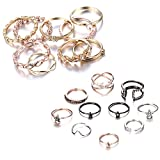 Gmai Bohemian Vintage Women Crystal Joint Knuckle Nail Ring Set of 10 pcs Finger Rings Punk Ring Gift (Star + Gold)