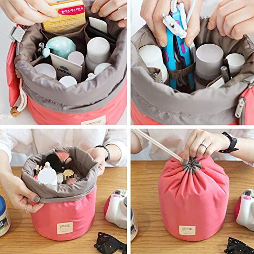 Multifunctional Lightweight Toiletry Bags Travel Cosmetic Bags For Women Waterproof Make Up Organizer with Sturdy Hook Portable Compact Bathroom Pouch (Large, Beige Cactus-Cylinder)