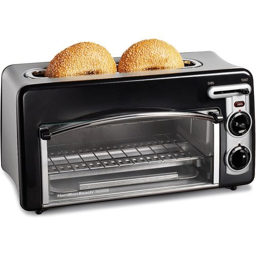 NEW Hamilton Beach Toastation Compact 2-in-1 Appliance Slice Toaster & Oven Features Removable Crumb tray and Oven rack (22703) - Black