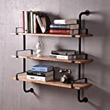 Reclaimed Wood&Industrial DIY Pipe shelf Shelves Steampunk Rustic Urban bookcase 3 tier book shelevs