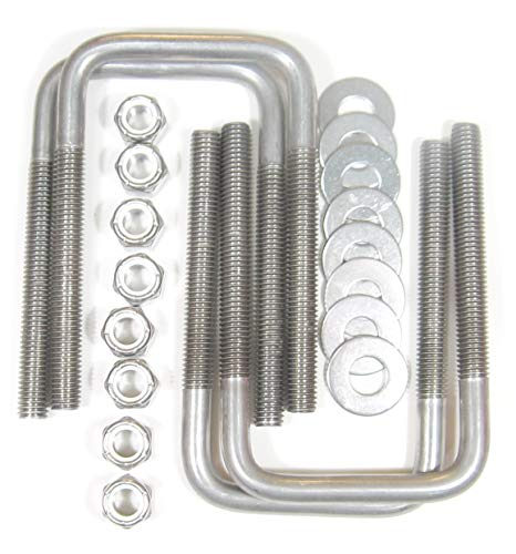 "(4) Stainless Steel Square U-Bolts Boat Trailer U bolt Ubolt 1/2"" D x 3 1/16"" W x 5 5/16"" L"