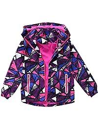 Hiheart Girls Boys Waterproof Fleece Lined Jacket Color Block Windbreaker