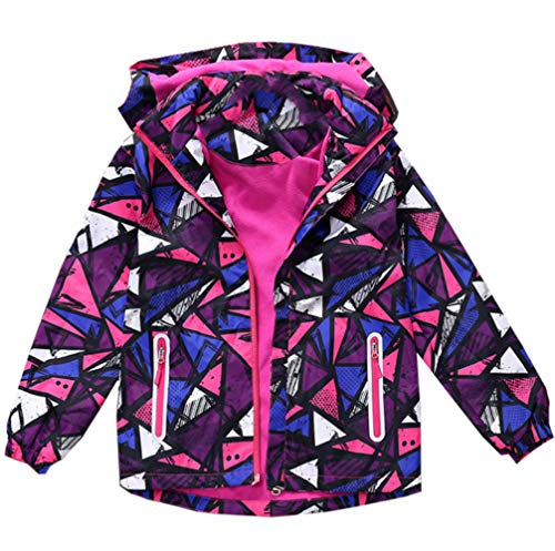 Hiheart Girls Waterproof Softshell Jackets Hooded Fleece Lined Windbreaker Rose ()