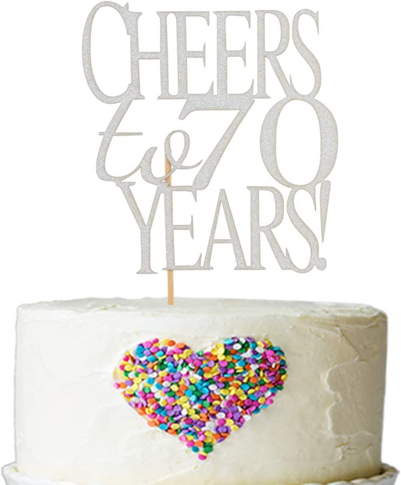 Superb Amazon Com Cheers To 70 Years Cake Topper Silver Glitter Hello Funny Birthday Cards Online Aboleapandamsfinfo