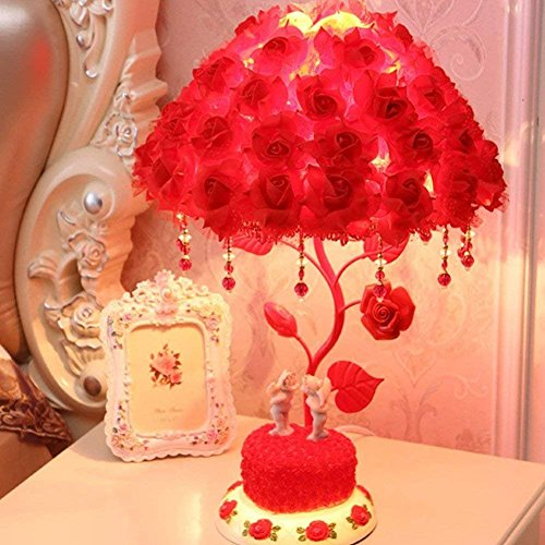 (RUIDA Table Lamp, Rose Shade Lamp Desk Lamp, Rose Flower Tree Light for Living Room Bedroom Lamps, Bedside Reading Lamps & Jewelry Box, Resin Base, G14 2700k 500Lm 6W E26 Bulb Plug Power No USB (Red) )