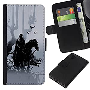 KingStore / Leather Etui en cuir / LG Nexus 5 D820 D821 / Caballero Negro Hípica crowm bosque de cuento de hadas