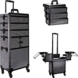 Sunrise I3364 Professional 4-in-1 Rolling Makeup Artist Cosmetic Train Case Organizer Storage, Krystal Black