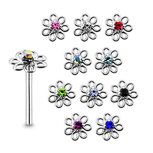 5 Pieces Mix Color Jeweled Filigree Flower Sterling Silver 22 Gauge Straight Nose Pin