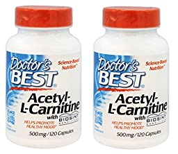 Doctor\'s Best Acetyl-L-Carnitine, 500 mg, 120 Veggie Caps Pack of 2