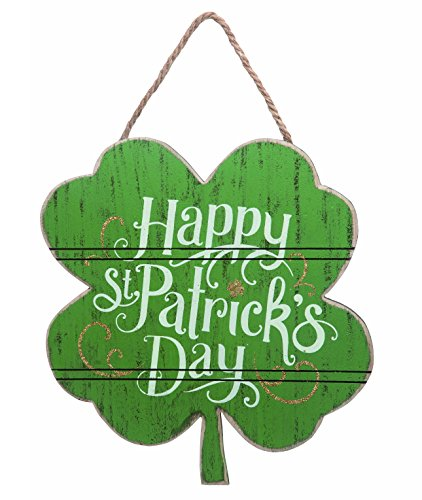 Day 12 x 12 Green Shamrock Shape Hanging Wall Sign Plaque (Patricks Day Plaque)