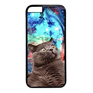 """Galaxy Space Hipster Cat Theme Case for iPhone 6 Plus (5.5"""") PC Material Black by runtopwell"""