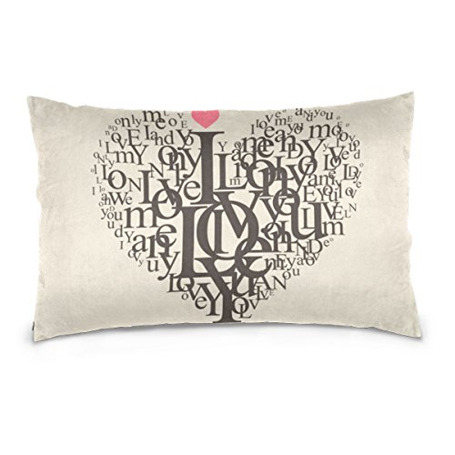 Top Carpenter Heart Shape Letters Velvet Oblong Lumbar Plush Throw Pillow Cover/Shams Cushion Case - 20x36in - Decorative Invisible Zipper Design for Couch Sofa Pillowcase - Shapes Oblong