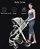 YBL High landscape Neonatal Baby stroller Suitable for children 0-3 years old Folding suspension Aluminum alloy frame Four rounds Baby carriage Four seasons sleeping basket Can sit and lie down