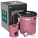 valve coffee - Coffee Gator Stainless Steel Container - Canister with co2 Valve, Scoop, and Travel Jar (Pink, Medium)