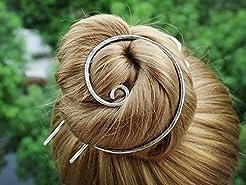 Silver Bun Holder Hair Fork Hair Slide H...