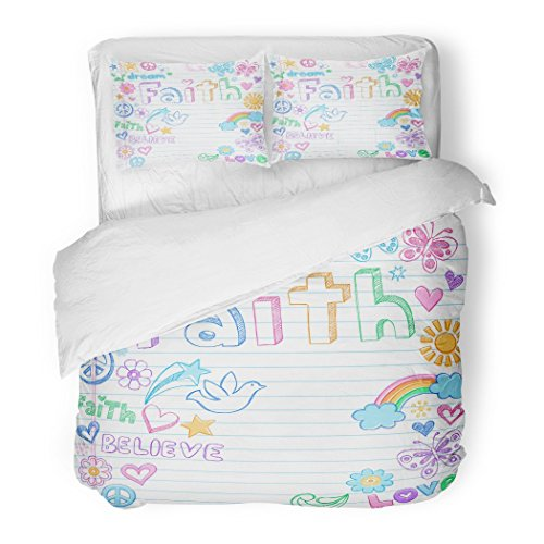 SanChic Duvet Cover Set Peace Faith Back to School Style Sketchy Doodles Design on Lined Sketchbook Sketch Decorative Bedding Set Pillow Sham Twin Size by SanChic