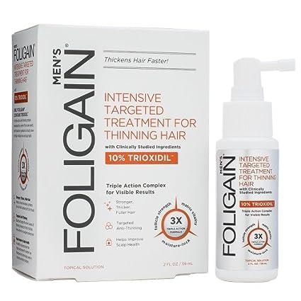 Terapia para caída del cabello para hombres Foligain, 10% trioxidil, spray efectivo para