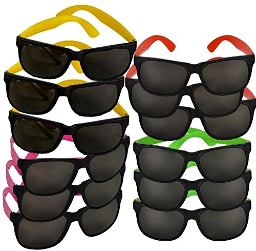 Blue Green Novelty Bulk Lot of 12 Neon 80's Style Party Sunglasses with Dark Lens