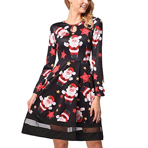 コーンコンペ間隔Zhhlaixing クリスマスドレス Ugly Christmas Print Mesh Splicing Dress Pullover Dresses Autumn Winter for レディース Long Sleeve