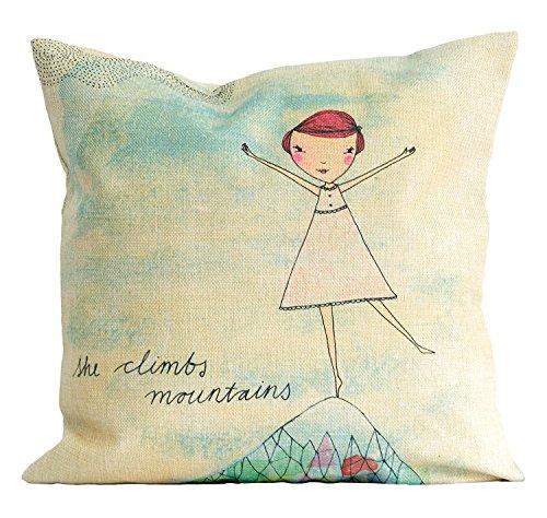 Americanflat 18x18 Inch Pillow Case Sweet William, She Climbs Mountains; Cotton Linen Material, Hidden Zipper on Cover; Beautiful Home ()