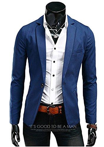 Men's Casual Stylish Slim Fit One Button Suit Jackets Blazer Coat Blue XL (Men Blazer Light Blue compare prices)