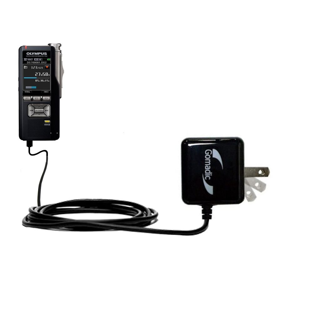 Gomadic High Output Home Wall AC Charger designed for the Olympus DS-3500 with Power Sleep technology - Intelligently designed with Gomadic TipExchange