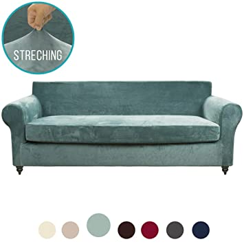 MOYMO 2-Piece Stretch Velvet XL Couch Slipcover, High Stretch Sofa Covers for 3 Cushion Couch, Slipcovers for couches, Couch Covers for Sofa, Living ...