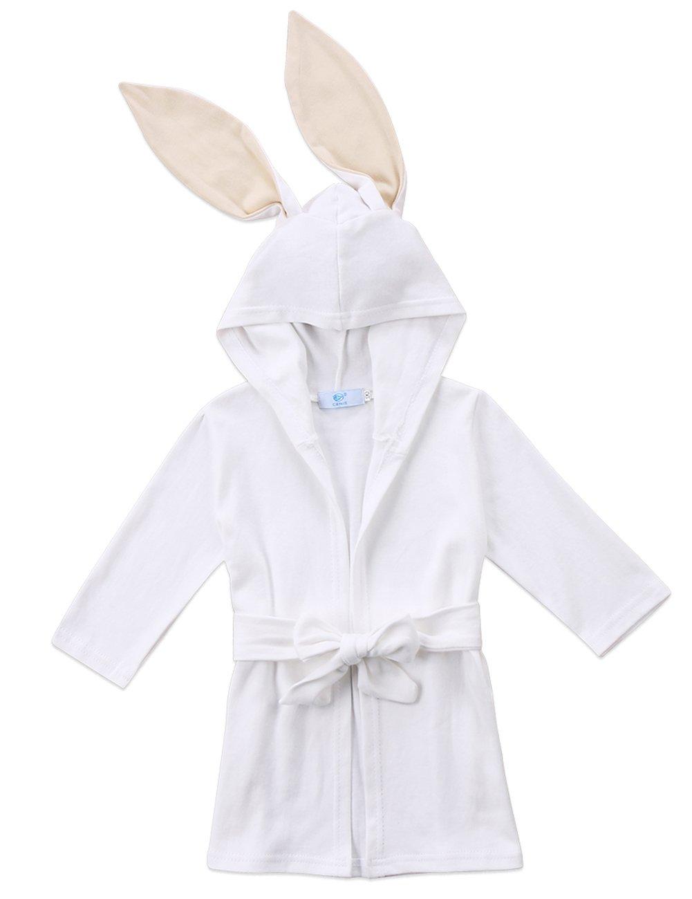 Baby Boys Girls Long Sleeve Hooded Bathrobes Cartoon Animal Rabbit Costume Pajamas