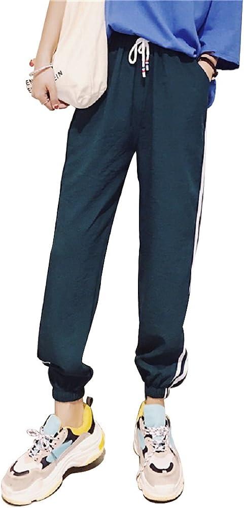Pantaloni Lino Donna Estivi a Righe Casual Larghi Tinta Unita con Coulisse Vita Alta Baggy Hip Hop Harem Danza Trousers Harajuku Boyfriend Sportivi Pantalone Lungo Estivo da Spiaggia Jogging Pigiama