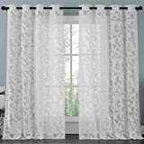 ATHENA White Lace Curtain Panel Set , Beautifully Crafted Floral Pattern Window Curtain Filters the Light Preserves Privacy Buyer Receives 2 Panels , Each Panel Measures 57 X 98 Inches For Sale
