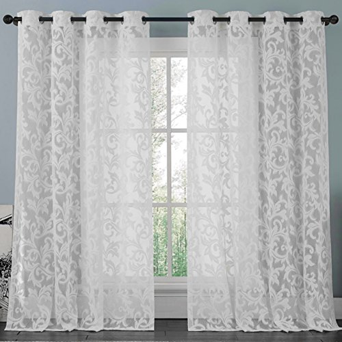 ATHENA White Lace Curtain Panel Set Beautifully Crafted Floral Pattern Window Filters The Light Preserves Privacy Buyer Receives 2 Panels