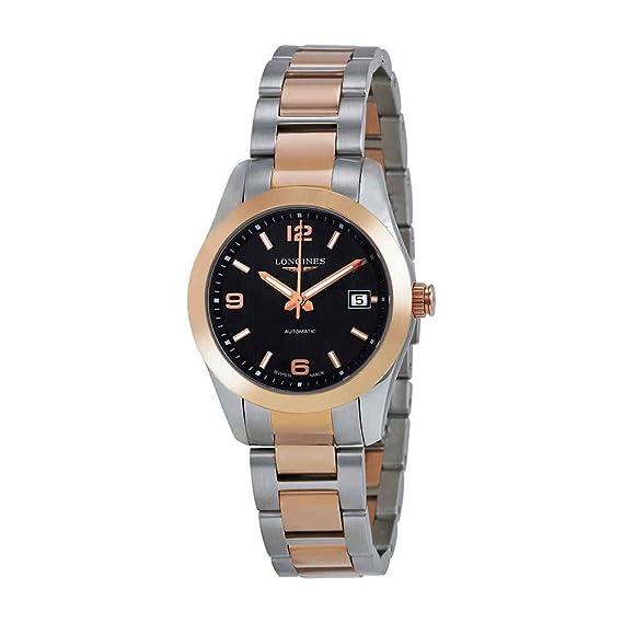 Longines Conquista clásico Automático 18 K Dorado y exposición parte posterior de la mujer reloj de acero inoxidable: Amazon.es: Relojes