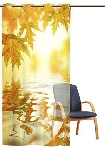 gardinen-for-life /Ösenschal Transparent Goldener Herbst 140 cm Breit 245 cm Hoch /Ösenschal mit Metall/ösen