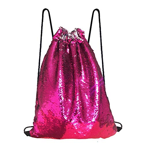 Alritz Mermaid Sequin Drawstring Bag, Reversible Sequin Backpack Glittering Outdoor Shoulder Bag for Girls Boys Women (Rose Pink/Silver) -
