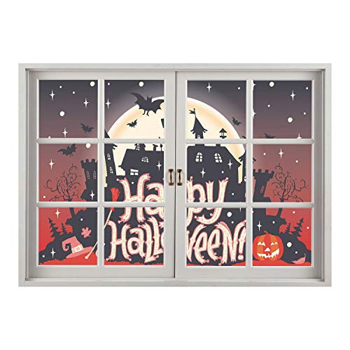 SCOCICI Window Frame Style Home Decor Art Removable Wall Sticker/Halloween,Medieval Gothic Castle with Happy Halloween Typography Stars Bats Moon Cheerful,Multicolor/Wall Sticker Mural