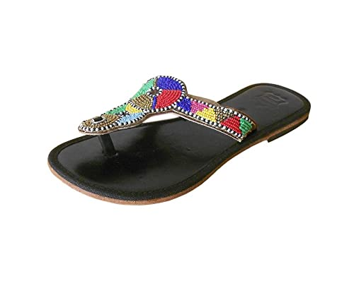 Kalra Creaciones Mujeres Tradicionales de la Piel con Secuencia Trabajo Indian Casual Zapatillas: Amazon.es: Zapatos y complementos