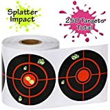 """GearOZ Splatter Target Stickers for Shooting-3"""" Bulleye, Adhesive Reactive Targets for BB Pellet Airsoft Guns, High Visibility Fluorescent Yellow Impact"""
