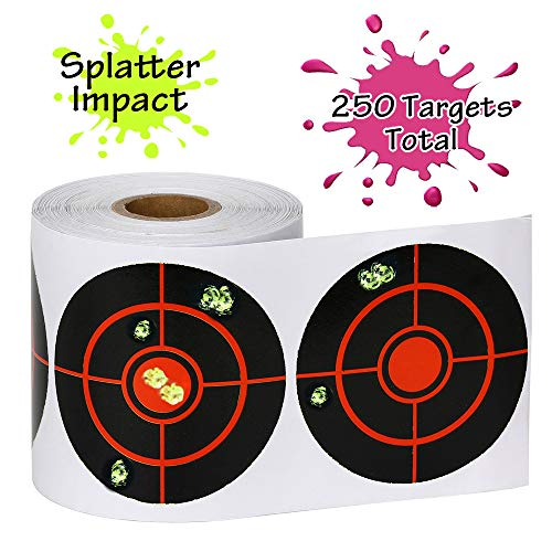 "GearOZ Splatter Target Stickers for Shooting-3"" Bulleye, Adhesive Reactive Targets for BB Pellet Airsoft Guns, High Visibility Fluorescent Yellow Impact"